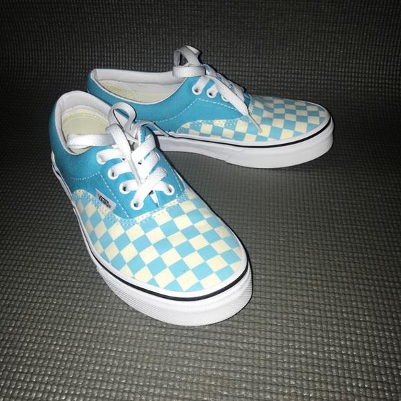 teal checkered vans kids
